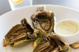 Grilled artichokes with dill aioli